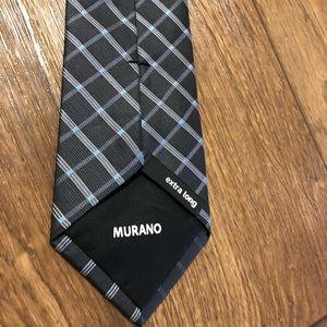 Murano extra long men's tie black blue